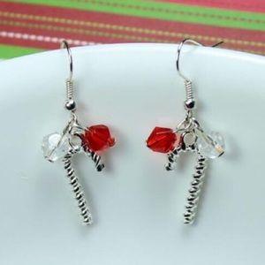 Crystal Beaded Candy Cane Earrings